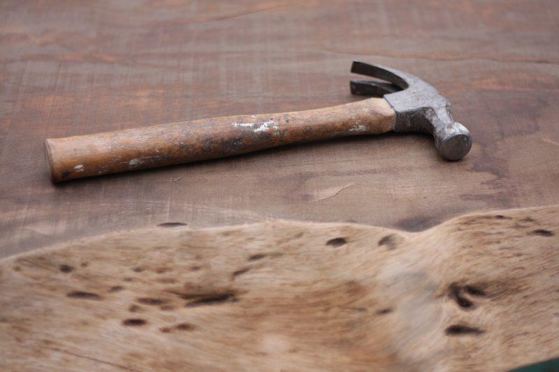 Klauwhamer op mahonie schaaldeel