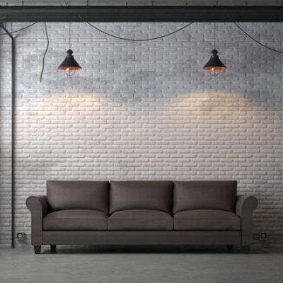 Industrieel zwart zichtbaar leidingwerk, vintage lampen en kale muur door houten en hamer