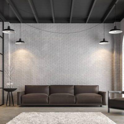 Zwart stalen separatie met vintage grijze baksteen muur