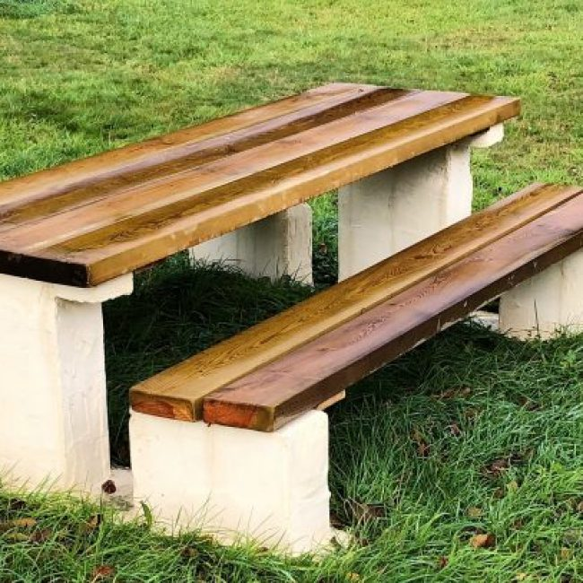 betonnen picnictafel met douglas bank en blad